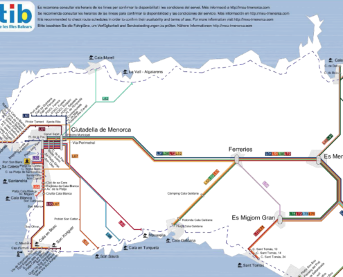 Menorca bus map
